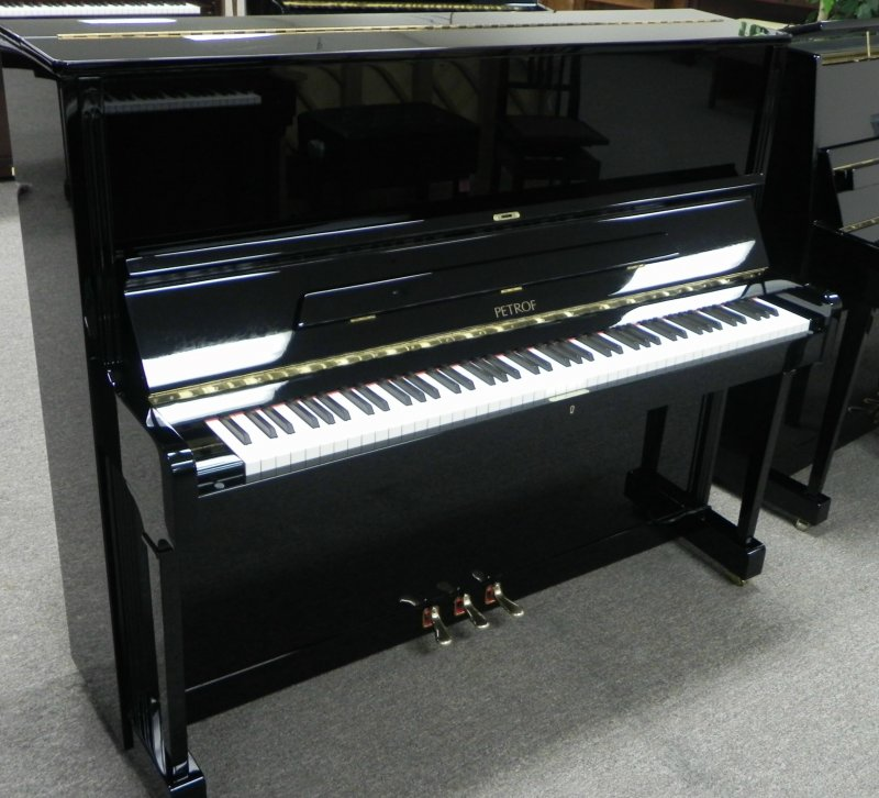 Petrof professional upright piano model 125 black polish for Yamaha m1 piano